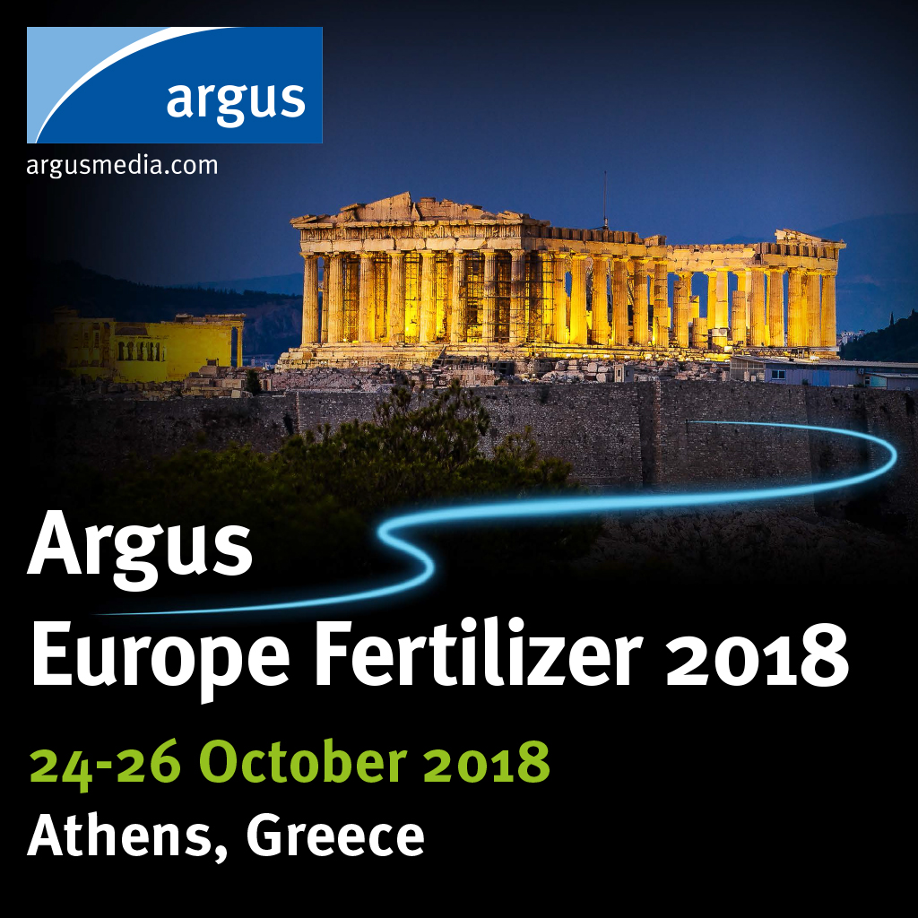 The 32nd annual Argus Europe Fertilizer will take place on 24-26 October in Athens, Greece.